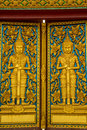 Temple doors, culture, art, Thailand, gate, golden, Buddhism. Royalty Free Stock Photo