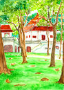 Temple in forest watercolor painted on paper Royalty Free Stock Image
