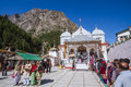 The temple of gangotri uttarakhand circa may hindu pilgrims stand in line to enter in circa may Stock Photo