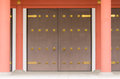 Temple gate asakusa doors made ​​of wood brown japan Stock Photo