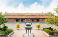 Temple of the generations in citadel of hue imperial city and ding urns symbolised king gia long first king nguyen dynasty Royalty Free Stock Image