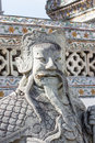 Temple guard statue in wat arun chinese at every gate of Royalty Free Stock Photo