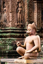 Temple Guardian in Banteay Srey Royalty Free Stock Photography