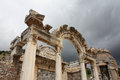 Temple of hadrian ephesus efes turkey and stormy sky Stock Photography
