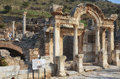 Temple of hadrian ephesus the façade the in Royalty Free Stock Photo