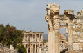 Temple of hadrian and library of celsus in ephesus turkey Royalty Free Stock Photos