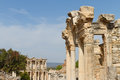 Temple of hadrian and library of celsus in ephesus turkey Royalty Free Stock Photo