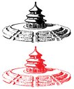 Temple of heaven beijing hand draw Royalty Free Stock Image