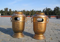 Temple of heaven litterbins at the in the forbidden city beijing china Royalty Free Stock Photo