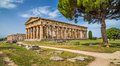 Temple of Hera at famous Paestum Archaeological Site, Campania, Italy Royalty Free Stock Photo