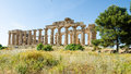 The temple of hera temple e at selinunte sicily italy remains Royalty Free Stock Photography