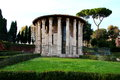 The temple of hercules victor rome ercole vincitore in piazza bocca della verita near church santa maria in cosmedin italy Stock Images
