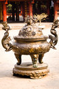 Temple incense burning hanoi vietnam Stock Images