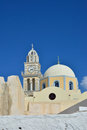 The temple on the island of santorini greece traditional architecture oia white church in with views sea Royalty Free Stock Image