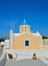 The temple on the island of santorini greece traditional architecture oia white church in with views sea Royalty Free Stock Images