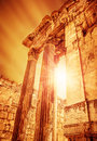 Temple of jupiter ancient roman city on sunset historical heliopolis ruins lebanon baalbek old columns architectural landmark Stock Images