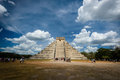 Temple of kukulkan chichen itza the pyramid also called el castillo is the heart Royalty Free Stock Images