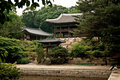 Temple by lake and forest seoul south korea asia Royalty Free Stock Image