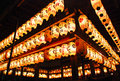 Temple Lanterns at Yasaka Shrine in Kyoto Stock Image