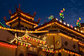Temple Lighted Up for Chinese New Year Stock Images