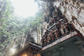 Temple with limestone cave texture inside Batu Caves near Kuala Lumpur, Malaysia. Royalty Free Stock Photo