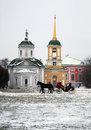 Temple in moscow park beautiful the famous winter Royalty Free Stock Photos