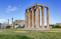 Temple of Olympian Zeus, Acropolis in background, Athens, Greece Royalty Free Stock Photos