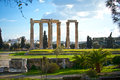 Temple of olympian zeus in athens ruins the greece Royalty Free Stock Images