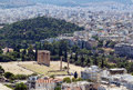Temple of olympian zeus athens view from the acropolis on the Royalty Free Stock Images