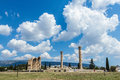 Temple of Olympian Zeus on bright sunny and beautiful sky clouds, Athens Royalty Free Stock Photo