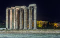 Temple of olympian zeus at night athens greece the also known as the olympieion or columns the is a colossal ruined in the centre Royalty Free Stock Photo