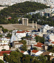 Temple of olympian zeus and plaka in athens greece view from acropolis Royalty Free Stock Images