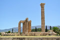 The temple of olympian zeus remains with a column that collapsed in in foreground athens greece Stock Photo