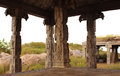 Temple pillars anciant at gingee fort tamilnadu india Stock Photos