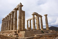 Temple of Poseidon at Cape Sounion Attica Greece Royalty Free Stock Photo