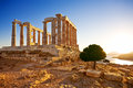 Temple of poseidon at cape sounion greece ruins an ancient greek before sunset Royalty Free Stock Photos