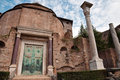 Temple of romulus at roman forum rome italy Stock Photo