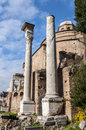 Temple of romulus in the roman forum rome italy Stock Photography