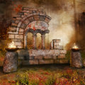 Temple ruins in the forest with fire burners colorful autumnal Stock Photography