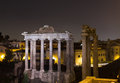 Temple of Saturn and Temple of Vespasian and Titus Royalty Free Stock Photo
