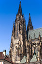 Temple of st vitus in prague cathedral is a beautiful and stately building with countless chapels chapels staircases chairs and Royalty Free Stock Images