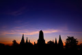 Temple in the sunset pagoda at ancient ayutthaya province of thailand Stock Photography