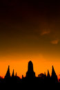 Temple in the sunset pagoda at ancient ayutthaya province of thailand Royalty Free Stock Images