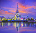 The temple of so thorn in thailand in evening with reflection river Royalty Free Stock Images