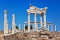 Temple of trajan at acropolis of pergamon in turkey Stock Image