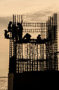 Temple under construction with workers near mangrove forest in thailand Royalty Free Stock Images