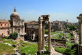 Temple of vespasian and titus arch of septimius severus and la basilica porcia at the roman forum rome italy Stock Image