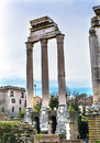 Temple of Vespasian Corinthian Columns Roman Forum Rome Italy Royalty Free Stock Photo