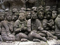 Temple wall sculptures Borobudur Stock Image