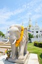 Temple of wat asokaram samut prakan thailand elephant statue in Royalty Free Stock Photo